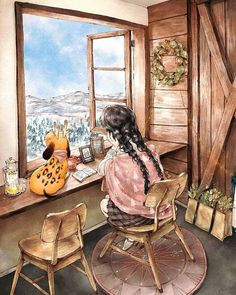 Korean artist Aeppol has found inspiration in living alone in nature with the most loyal life companion - her dog - to create the Forest Girl character. Art And Illustration, Girl Illustrations, Art Anime Fille, Anime Art Girl, Cartoon Kunst, Cartoon Art, Art Mignon, Forest Girl, Korean Artist