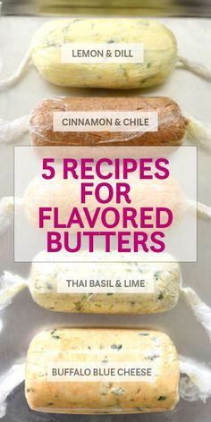 Herbs, citrus, and even cheese flavor these 5 recipes for easy-to-make homemade compound butters Flavored Butter, Homemade Butter, Basil Butter Recipe, Blue Cheese Butter, Cinnamon Butter, Compound Butter, Herb Butter, Lemon Butter, Garlic Butter