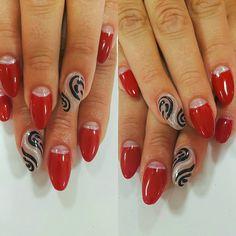 Red nails black art silver nails