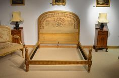 A Late 19th Century French Carved Giltwood Antique Double Bed