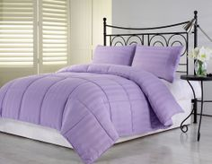 Purple Comforter Sets Queen | 3pcs Purple Poly Sateen Damask Stripe Down Alternative Comforter Set ...