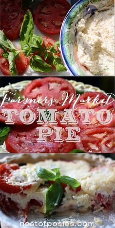 Farmers' Market Tomato Pie.  It's absolutely amazing & prep time time ls less then 10 minutes via Nest of Posies.