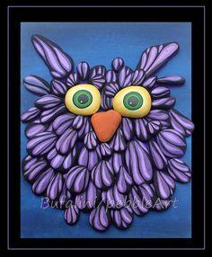 Purple Owl: Pebble Art - Michela Bufalini