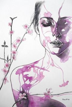 Illustration by: Erica Dal Maso Art And Illustration, Watercolor Illustration, Watercolor Paintings, Illustrations, Watercolour Flowers, Acrylic Painting On Paper, Acrylic Paintings, Art Visage, L'art Du Portrait