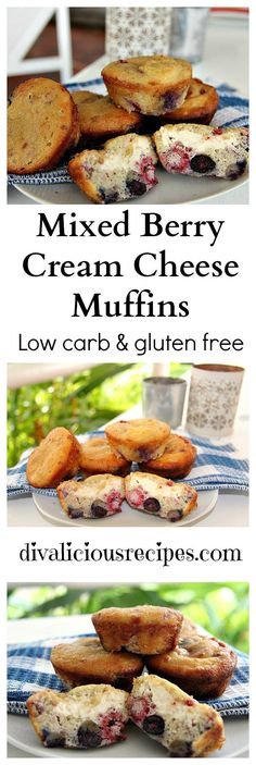 Mixed berry muffins with a cream cheese centre,  Low carb & gluten free too.