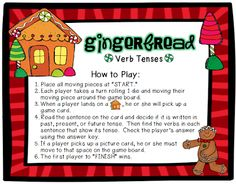 Gingerbread Verb Tense - Board Game - pinned by @PediaStaff – Please Visit  ht.ly/63sNt for all our pediatric therapy pins