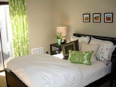 green bedroom curtins | olive curtain white floor soft green wall