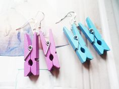 Fun wooden clothes peg earrings with sterling silver hooks, whimsical jewelry, Selma Dreams colourful and bohemian accessories for her by SelmaDreams on Etsy