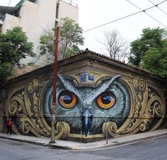 Celui-là HIBOU dans son coin... / Street art. / Athènes. / Athens. / Grèce. / Greece. / By WD. / Photo by StreetArtNews.