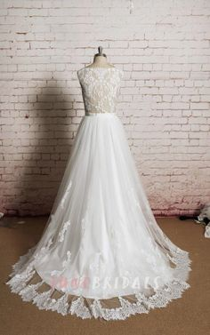 Jewel Neck Sleeveless A-Line Tulle Dress With Sheer Back - June Bridals