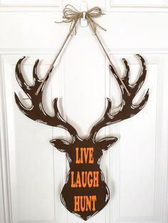 A personal favorite from my Etsy shop (null) Diy Gifts Guys, Flea Market Crafts, Hunting Crafts, Diy Home Interior, Wooden Wreaths, Burlap Door Hangers, Christmas Front Doors, Fish Crafts, Oh Deer