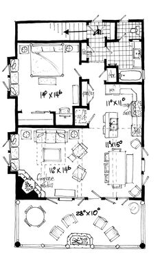 This country design floor plan is 1065 sq ft and has 1 bedrooms and has 1 bathrooms. Guest House Plans, Cabin Floor Plans, Modern House Plans, Small House Plans, Cottage House Plans, Bedroom House Plans, Plan Plan, How To Plan, Apartment Floor Plans