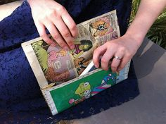 Comic book brides! In honor of Con season, here's a cool and functional item for your ladies to carry as they join you at the end of the aisle: a purse made from a comic book.
