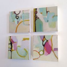 Small but packed with yummy colors...reminds me of a candy shop! This is an original abstract oil painting on 6x6x1-1/2 gallery wrapped canvas. The sides are painted white. Signed front and back, sealed and wired for hanging. Ready to ship