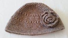 Beanie style hat with or without Flower by AnniBelleCrochet