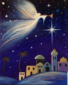 40 Simply Amazing Winter Painting Ideas - Her Canvas Christmas Scenes, Christmas Nativity, Christmas Art, Christmas Decorations, Xmas, Winter Painting, Winter Art, Diy Painting, Nativity Painting