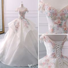 ball dresses Elegant Ivory Wedding Dresses 2018 Ball Gown Lace Appliques Beading Pearl Cascading Ruffles Off-The-Shoulder Backless Short Sleeve Royal Train Wedding Elegant Dresses, Pretty Dresses, Vintage Dresses, Elegant Ball Gowns, Wedding Dresses 2018, Quinceanera Dresses, Reception Dresses, Ball Dresses, Prom Dresses
