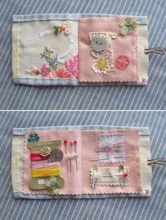 make a sewing case using vintage handkerchiefs find hankies here…Needle cases using vintage hankies : The Vintage Drawer : Vicky Trainor : no tutorialneedle case using vintage hankies. Have lots of vintage hankies, if I could just use them. Sewing Case, Love Sewing, Hand Sewing, Needle Case, Needle Book, Sewing Hacks, Sewing Crafts, Sewing Kits, Mini Bebidas