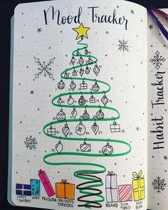 Bullet journal mood tracker, Christmas bullet journal theme, Christmas drawings, chistmas present drawings, Christmas decorations drawings. @creative_journaling_jess