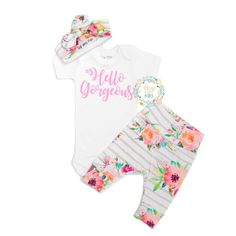 """Hi there! Welcome to Gigi and Max! This handmade outfit is beyond perfect for any sweet baby on the way. Pants and headbandare made out of a super soft stretchy knit. The onesie is professionally heat pressed with our """"Hello Gorgeous"""" design. Leggings and onesie are newborn size. Also included is a newborn matching headband. Onesie is also available in long sleeve"""