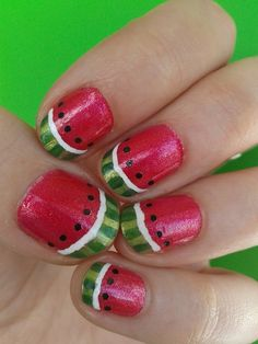 Watermelon nails! Polishes: Hawaiian Punch (Rimmel's cocktail colour in a flash), Exotic Green (Sinful Colors), a green Maybelline polish of the Express Finish colection