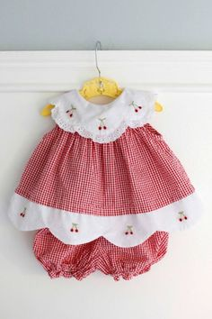 Months: Red Gingham Baby Outfit, Dress and Bloomer Set, Seersucker Gingham with White Scalloped Collar and Hem with Embroidered Cherries Little Dresses, Baby Outfits, Little Girl Dresses, Toddler Outfits, Kids Outfits, Girls Dresses, Vintage Baby Dresses, Baby Dress Patterns, Baby Sewing Projects