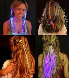 LED-Licht bis Hair Extensions Lichtwellenleiter Haar Clip 2pcs blue light