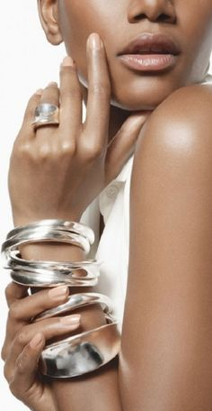I love the look of stacked sterling silver bangles!