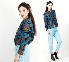 Vintage Floral Blouse / Rose Print Top / Blue Blouse / Floral Blouse Size L by Ramaci on Etsy