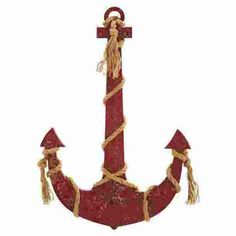 "Benzara 34""H Classic Wood Rope anchor Smeared In Brownish Red Color"