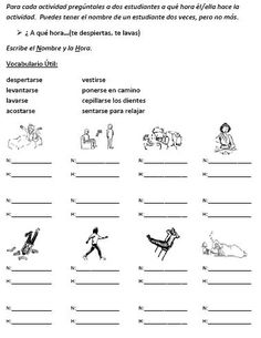 Reflexive verb speaking activity for the entire class that give all students lost to opportunities to talk.
