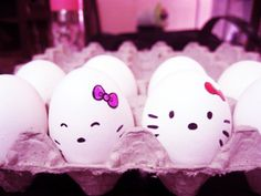 "Hello kitty easter eggs ~ Reyna requests these instead of cake as a ""healthy snack"". LOL"