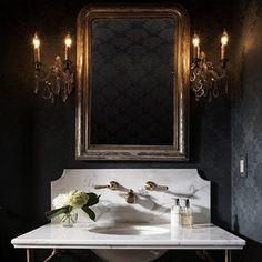 Glamorous Powder Room - Design photos, ideas and inspiration. Amazing gallery of interior design and decorating ideas of Glamorous Powder Room in bathrooms by elite interior designers - Page 1 Dark Gray Bathroom, Grey Bathrooms, Beautiful Bathrooms, Luxury Bathrooms, Gothic Bathroom, 1920s Bathroom, Small Bathroom, Brass Bathroom, Bathroom Modern