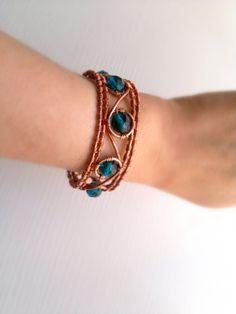 Copper wire Bracelet  Cuff  Unigue Spring by theflowerdesign, $42.00