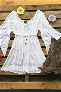 boutique clothing, Can't Keep My Hands To Myself Tunic Dress - White