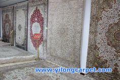 The beautiful handmade silk carpets are on the wall. Yilong Carpet including Persian Rug; Oriental Rug; Turkish Rug; Antique Rug, Anbusson, Bijar Rug, Chinese Rug, Eilan Rug, Hand Knotted Rug, Handmade rug, Isfahan Rug, Kashan Rug, Kashmir Rug, Kerman Rug, Nain Rug, Qum Rug, Sarouk Rug, Silk Rug, Tabriz Rug, Vintage Rug