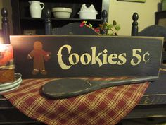 Primitive Wood Gingerbread Sign Cookies by DaisyPatchPrimitives, $10.00