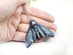 Deathshead Moth Necklace Witchy Jewelry / Death's Head image 4 Wiccan Jewelry, Gothic Jewelry, Blood Moon Lunar Eclipse, Witch Fashion, Blue And Silver, In This World, Moth, Swarovski Crystals, Pendant Necklace