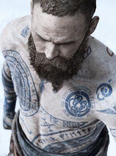 Tattoos of Baldur - God of War game Rune Tattoo, War Tattoo, Norse Tattoo, Celtic Tattoos, Viking Tattoos, Warrior Tattoos, Armor Tattoo, Tattoo Ink, Weird Tattoos