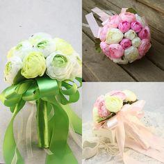 2015 New Wedding Pink Green Bridal Bouquet Silk Artifical Flower Wedding Bouquet Muilt Color Cheap Rose Wedding Favor Bride Holding Flower #dhgatePin