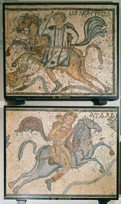 Roman mosaic, depicting Meleager and Atalanta, 4th century (mosaic). Roman, (4th century AD) / British Library, London, UK / © British Library Board. All Rights Reserved / The Bridgeman Art Library