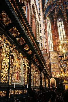 Beautiful murals in St. Mary's Basilica, Kraków, Poland