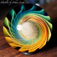 "1.47"" HANDMADE MARBLE SIGNED BY ~ETHAN LESCH~ BOROSILICATE, BORO, ART, MIB #Glass"