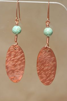 Hammered Oval Copper Earrings