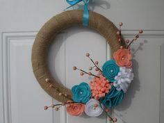 Spring Wreath, Spring Burlap Wreath, Easter Wreath, Coral, Aqua and White Felt Flower Wreath, Spring Decor on Etsy, $35.00