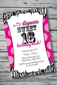 Zebra Print Sweet 16 Birthday Party Invitation File sent within 24 to 48 hours Sweet 16 Birthday, 16th Birthday, Birthday Parties, Printable Birthday Invitations, Personalized Invitations, Zebra Print Birthday, Sweet Sixteen, Printed, Cards
