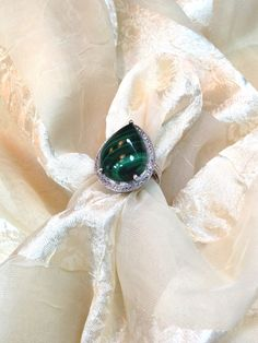 Pear-Cut Malachite Ring Set in Platinum by NorthCoastCottage