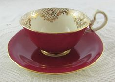 Antique Red Aynsley Tea Cup and Saucer by TheAcreage on Etsy