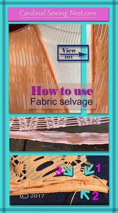 Step by step tutorial on how to use fabric selvage to sew a hand-rolled hem