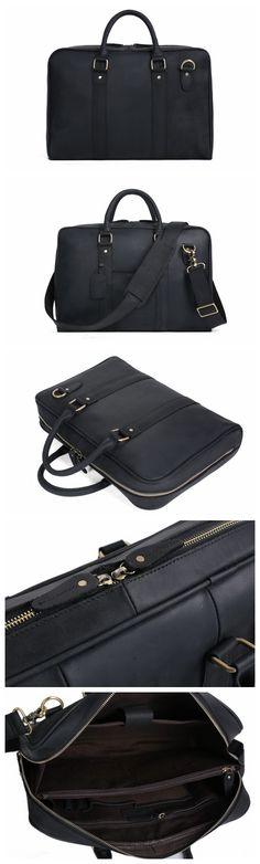 Handmade Black Genuine Leather Briefcase, Messenger Bag, Laptop Bag, Men's Handbag D007